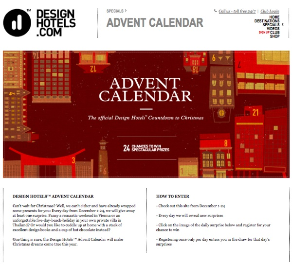 Hotel Calendar Design : The only advent calendar jet setters need hotels and
