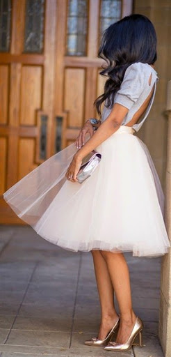 Blush Pink Tulle Skirt with Cut-out Back Blouse