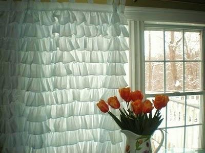 Manualidades decoraci n pintura cortina con volantes - Volantes de cortinas ...