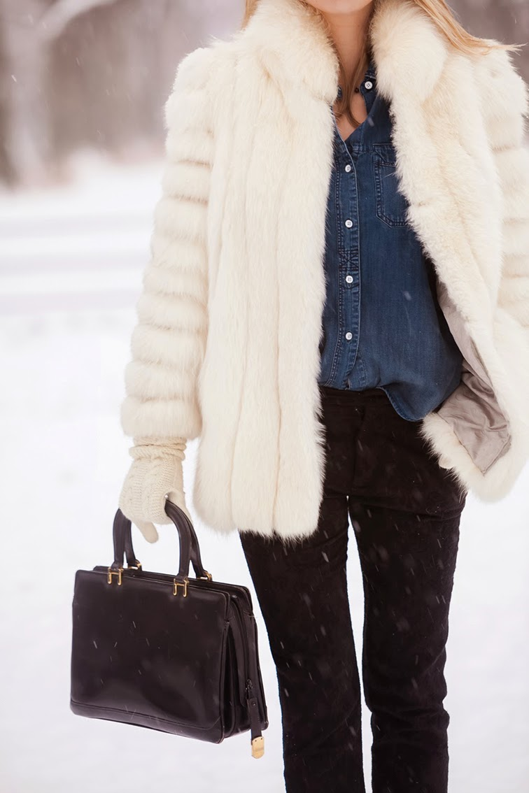 Denim button down Madewell Vintage leather bag, white fur coat, black brocade pants