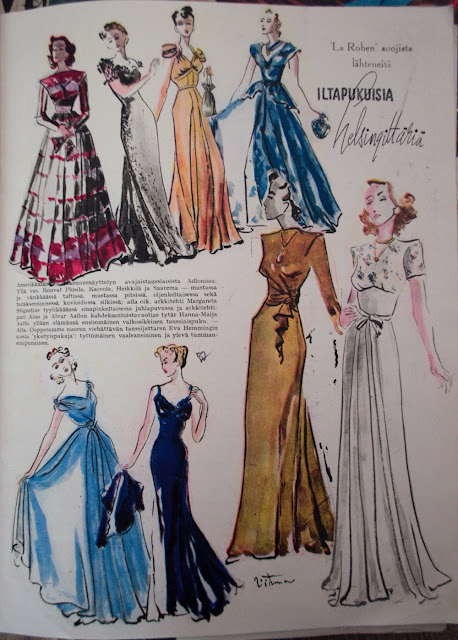 40s fashion illustration evening gowns