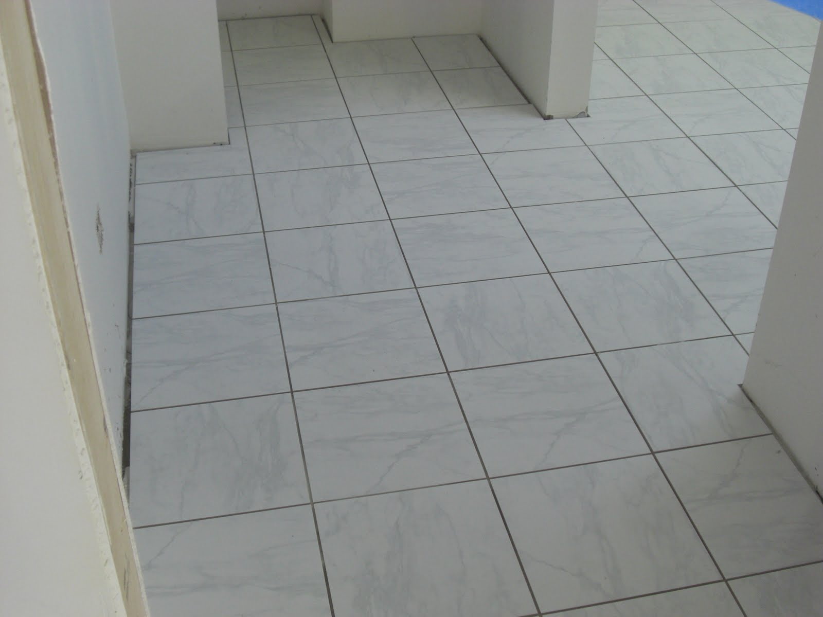White Tile Bathroom Gray Grout white floor tiles grey grout - wood floors