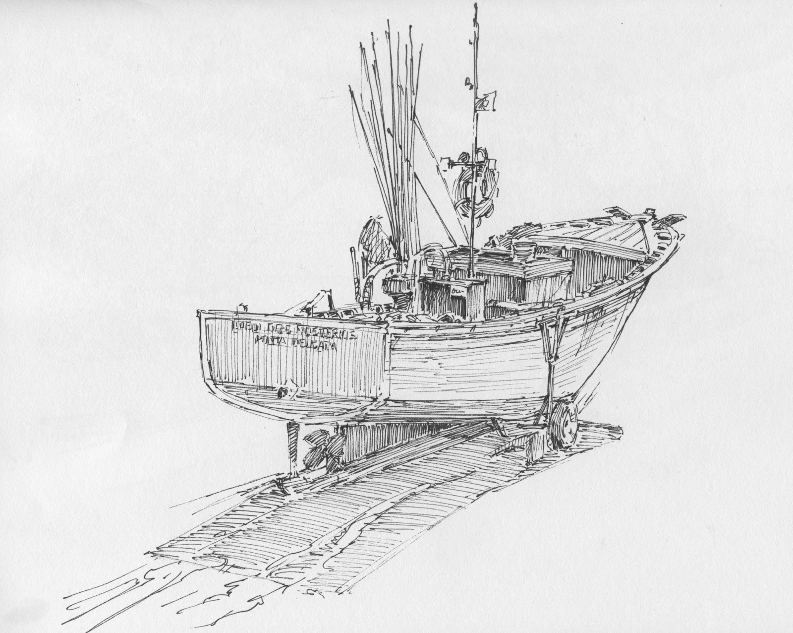 The gallery for fishing boat drawing for How to draw a fishing boat