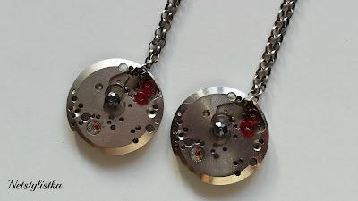 steampunk kolczyki z kryształkami Swarovskiego
