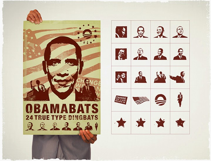ObamaBats: A collection of 24 high-quality dingbats featuring Barack Obama