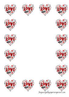 Hoja con corazones y love