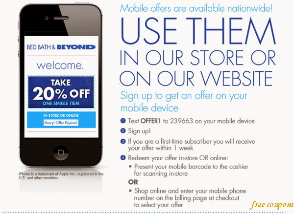 Bed bath store coupon discounts