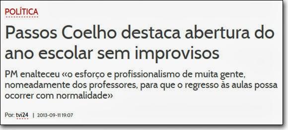 TVI24: «Passos Coelho destaca abertura do ano escolar sem improvisos»