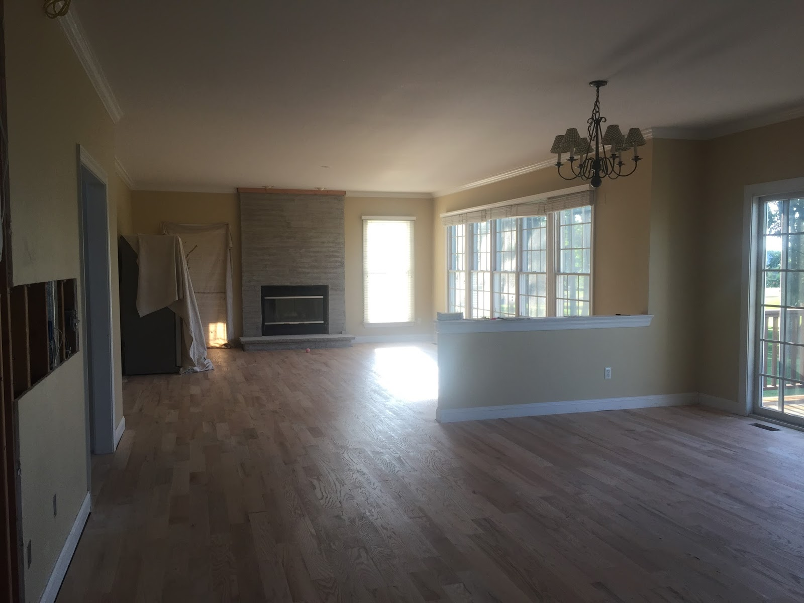 View into family room during renovation