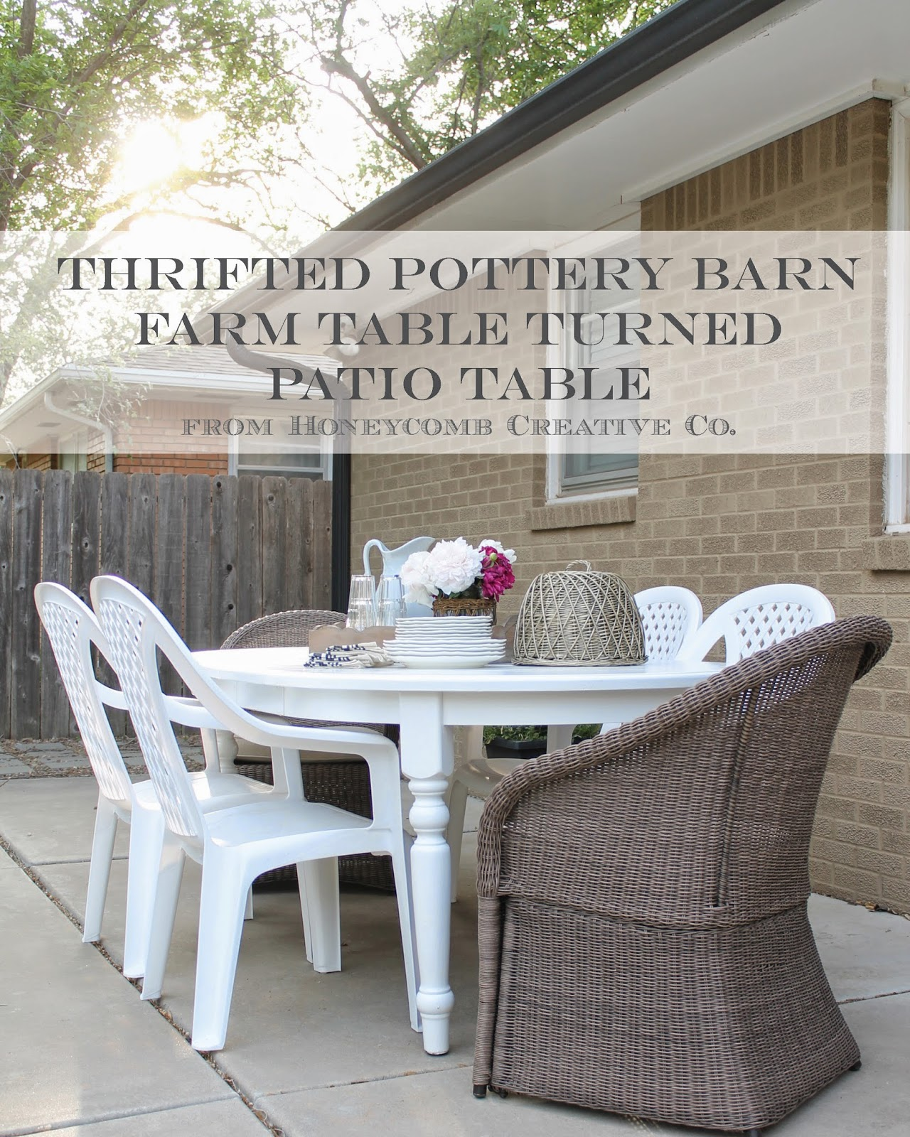 Thrifted Pottery Barn Table {How To Turn Indoor Furniture Into Outdoor  Furniture}