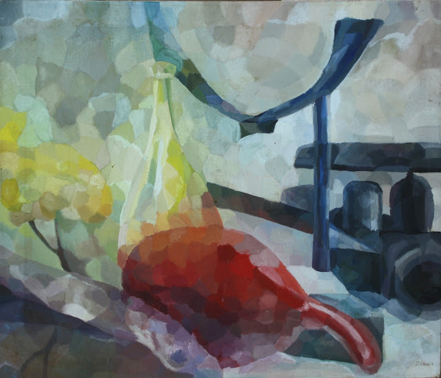 art, painting, still-life, gourd, red, yellow, gray, cubist, rayonist, arte, abstract, Judie Myers, 1960's, oil, salvage, save, artist, painter, move