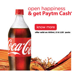 Paytm :Get Coke And Sprite PayTm Cash  Rs 10 for 600 ml bottle or Rs 20 for 2L/2.25L bottle