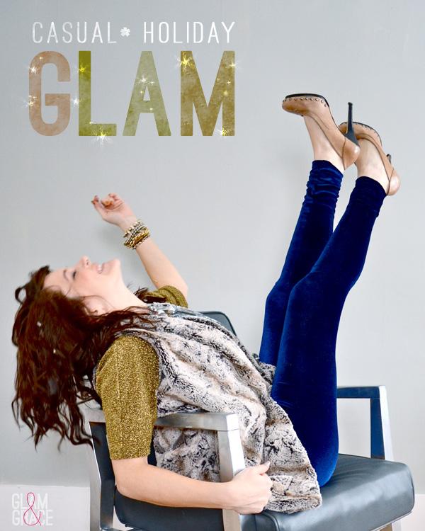 holiday glam - velvet leggings, faux fur, sequins & metallic