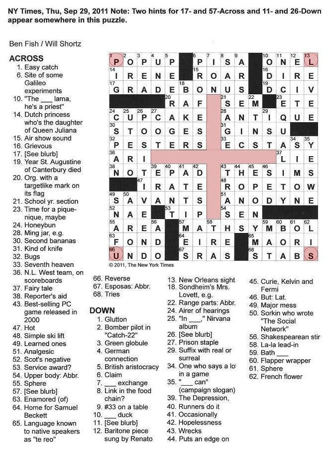 The New York Times Crossword In Gothic September 2011