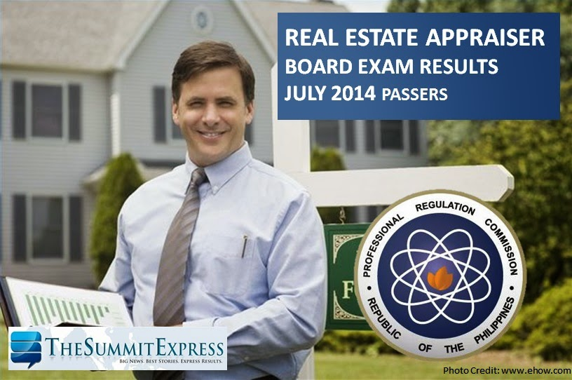 List of Passers Real Estate Appraisers board exam results (July 2014)