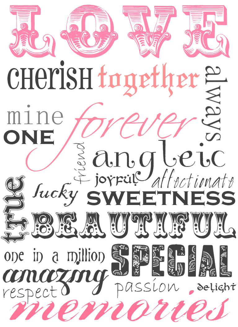 How to scrapbook words -  More Free Love Card Printables