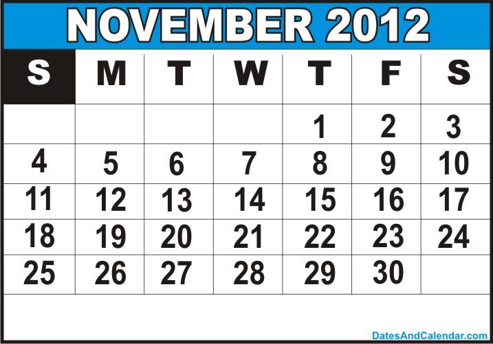 November Calendar 2012 : Calendar free printable november