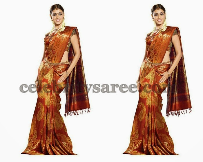 Genelia Maroon Bridal Silk Saree
