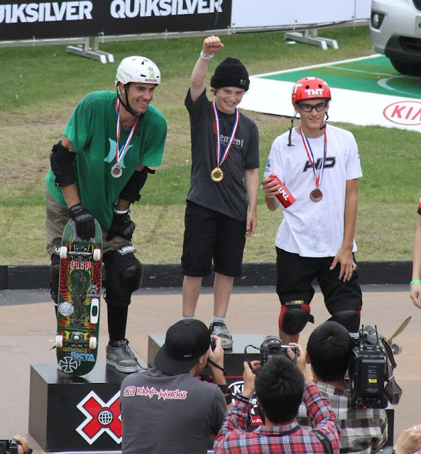Tom Schaar lands a 1080 during the Asian X-Games 2012