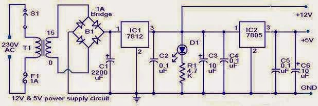 12v 5v combo power supply schematics world rh schematics world blogspot com 12V Power Supply Brick 12V 2A Power Supply