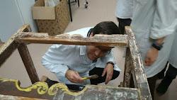Restauración mueble en madera policromada