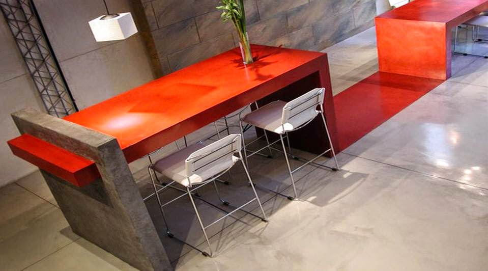 mueble microcemento rojo