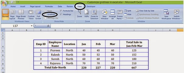 how to show gridlines in excel graph