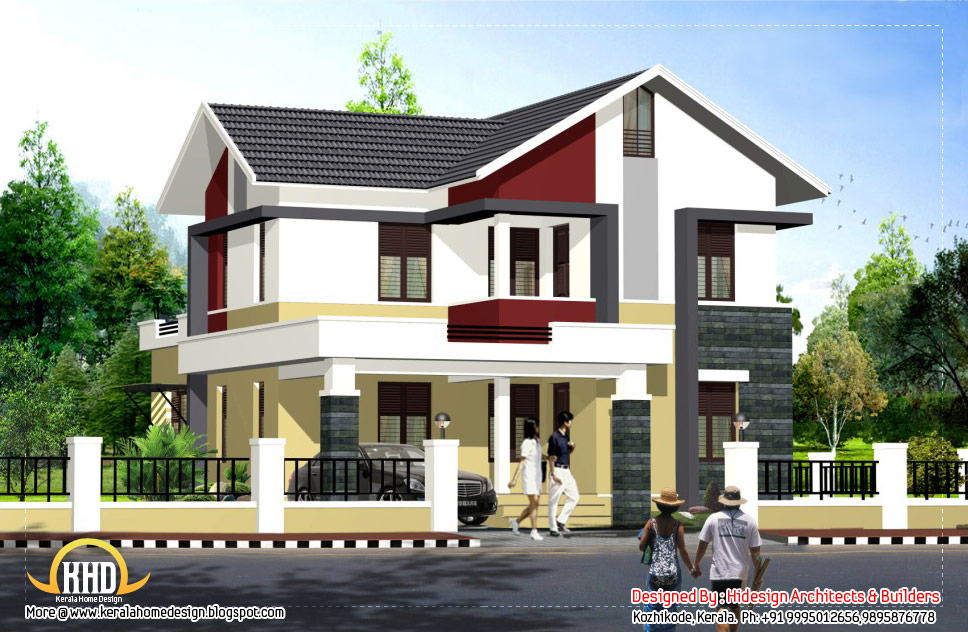 Contemporary Style Home 1956 Sq Ft Kerala Home Design And Floor Plans
