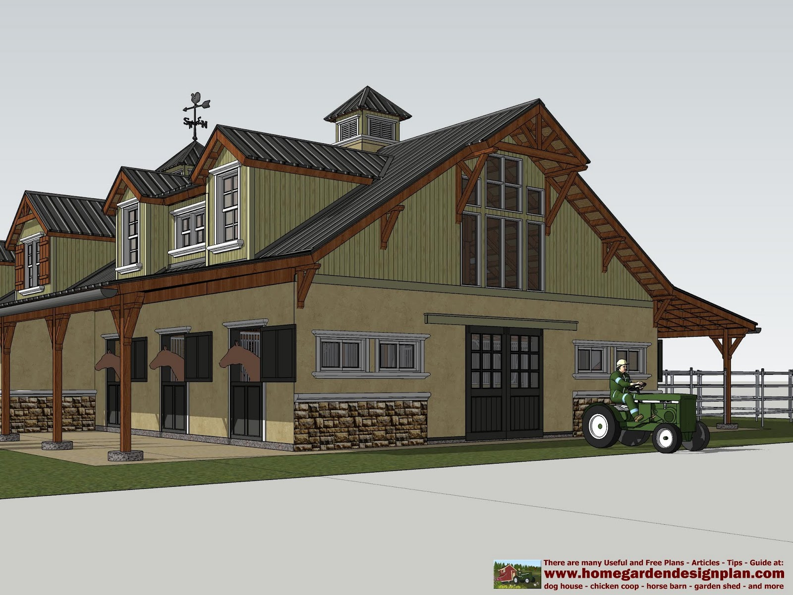 Home garden plans hb100 horse barn plans horse barn for Simple barn home plans