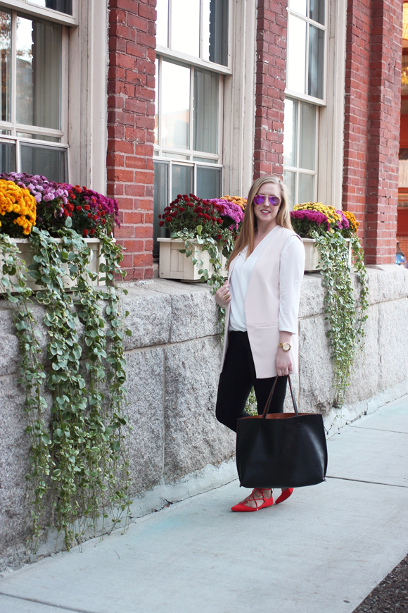 topshop lace up pointed toe flat, topshop long line vest, boston street style, boston fashion blog