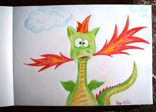 silly dragon funny pencil coloured drawing