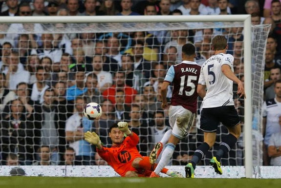 West Ham player Ravel Morrison scores past Tottenham goalkeeper Hugo Lloris