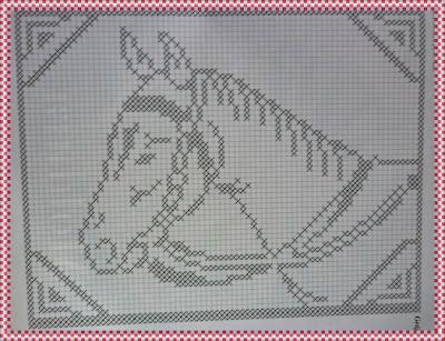 Toalha de croché retangular cavalo com gráfico