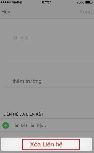 Xoá danh bạ trên Iphone 5s. iphone 6