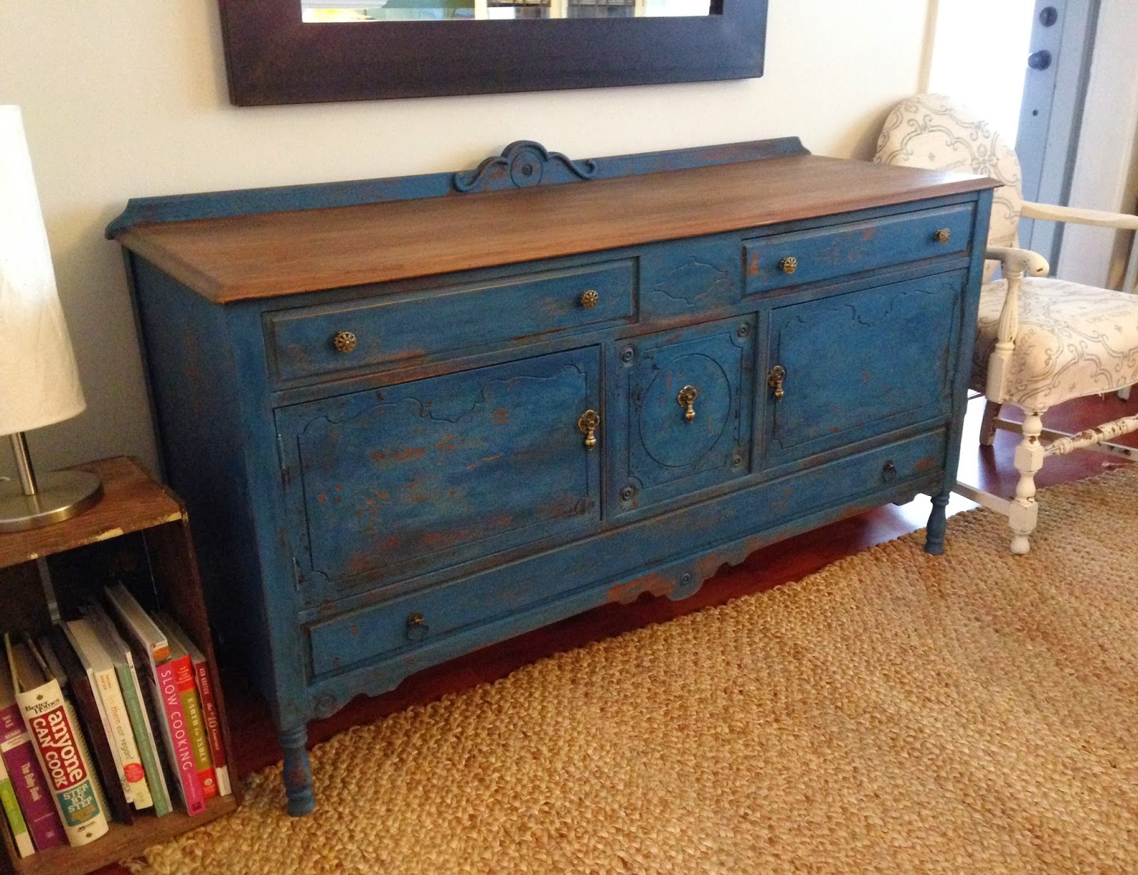 Repurposed gems soldier blue buffet - Restaurar muebles vintage ...