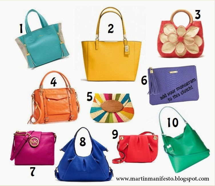 Bright purses, pop of color, handbag trend 2014