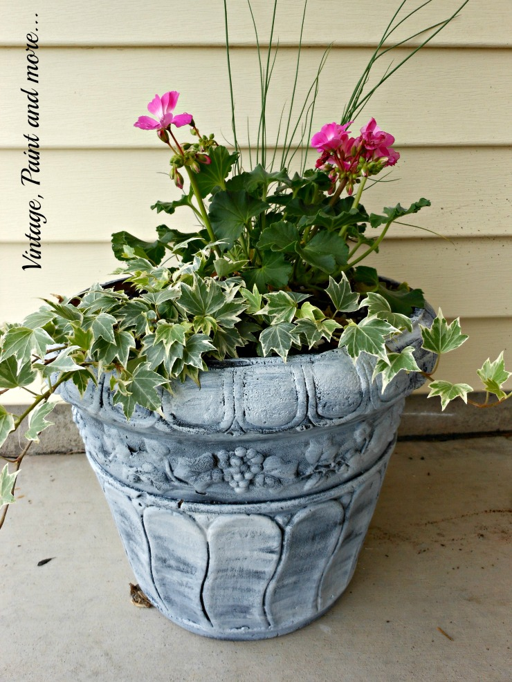 Vintage, Paint and more... container plantings for sunny locations