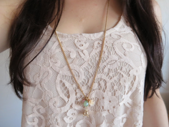 Latte lace top and gold necklace