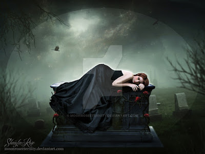 Women in black dress on an elevated stone coffin in a cemetary.