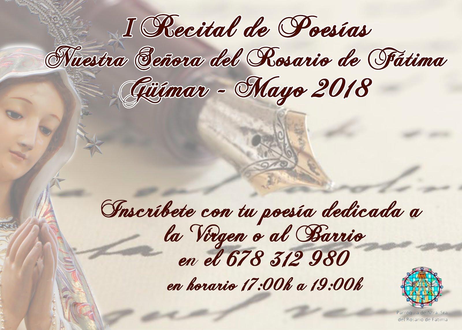 Inscríbete en el I Recital de Poesía  Ntra. Sra. del Rosario de Fátima. Pincha en el cartel