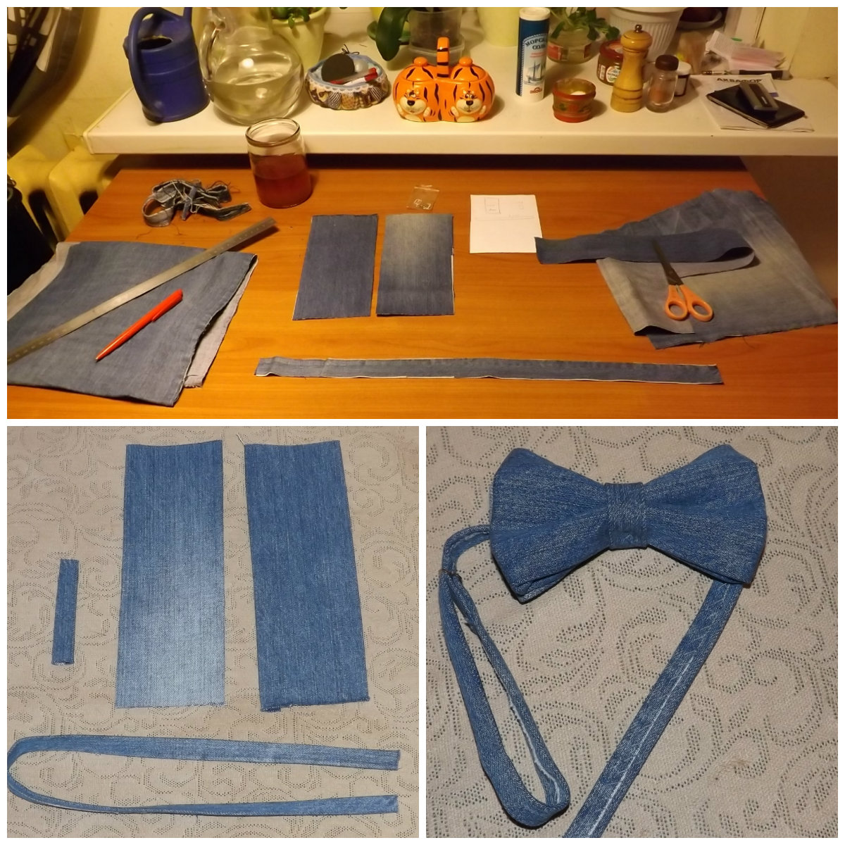 Как сшить бабочку из джинсовой ткани 19