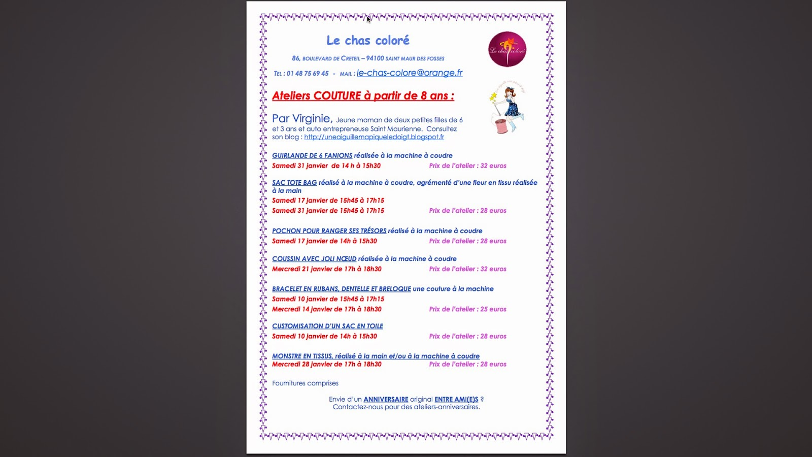 Planning ateliers couture