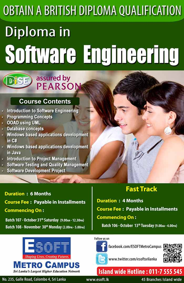 To get hands on knowledge in Software Engineering and to obtain an international diploma this is the ideal program to follow. This is the only internationally recognized diploma program in Sri Lanka (assured by Edexcel UK.) which has been specialized in software engineering field. It will provide the students the hands on knowledge of Database management, Project implementation using C#.Net and Java, etc. For freelancers in windows based application development, for undergraduates and even the school levers can get registered with this course.