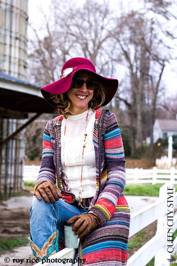 Free People Cardigan, Free People Patchwork Jeans, Free People Cream Lace Henley, Nine West Maroon Floppy Hat, Corral Boots, Melvin Ram Cuff, Bauble Bar Boho Drops, JewelMint Bee Earrings, Blinde Sunglasses, the Queen City Style, Roy Rice Photography