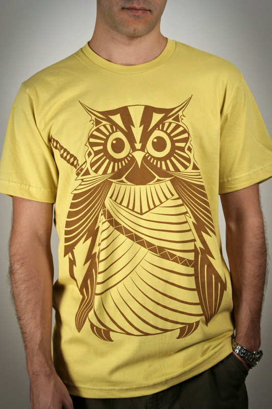 Samurai Owl organic cotton men's t-shirt by Engram Clothing