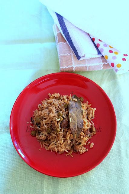 Mushroom and peas pilav