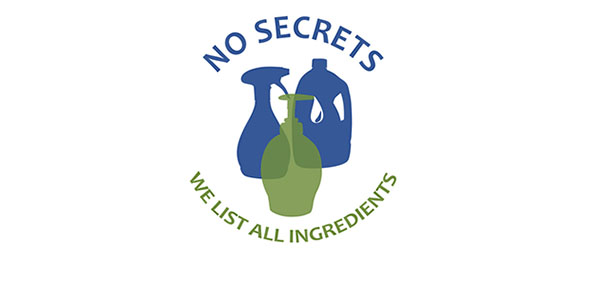 AspenClean is proud to be a No Secrets Company, listing all of the ingredients in our cleaning products
