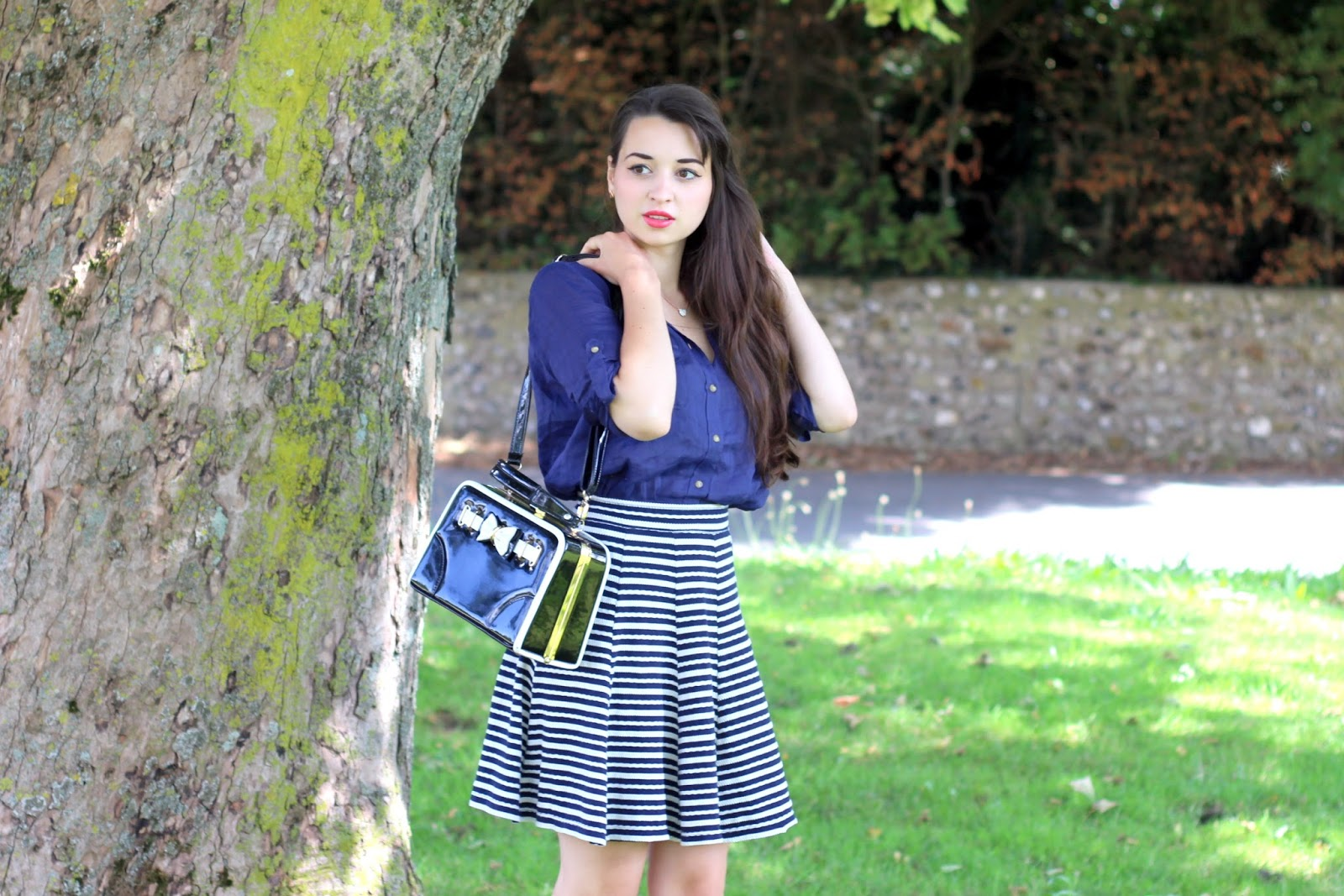 striped fat face skirt