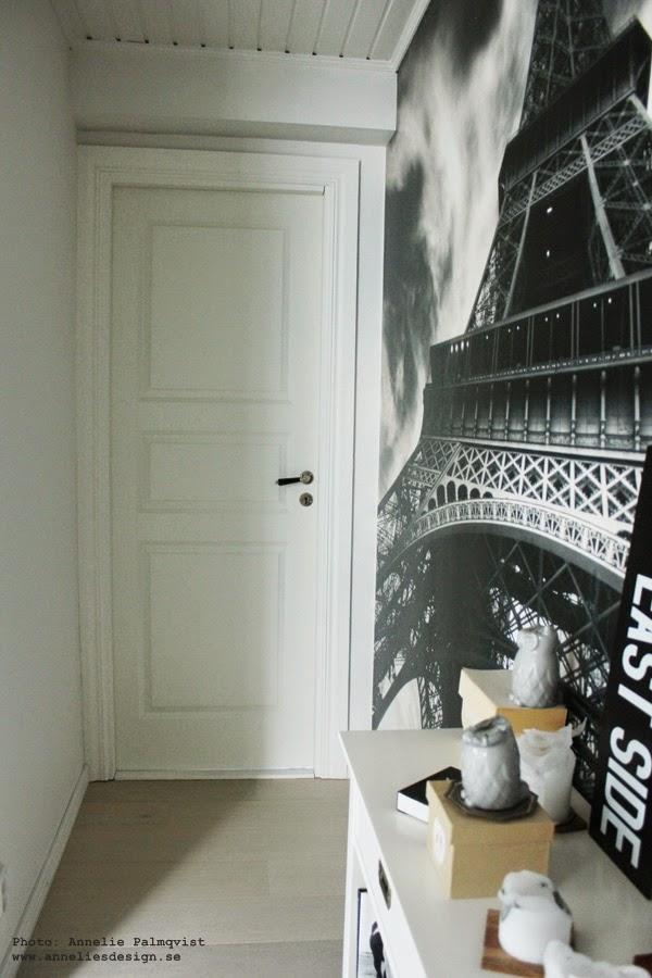 liten hall, svart och vit inredning, inredningsblogg, blogg, fototapet, mr perswall, ljus, vit dörr, vita dörrar, spegeldörr, spegeldörrar, hall, utbyggnad,