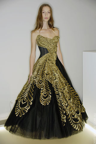 wedding lady marchesa wedding dress in black and gold With black and gold wedding gown